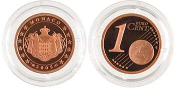 Monaco, Albert II, 1 cent d'euro, Belle Épreuve (PROOF), 2005 Paris