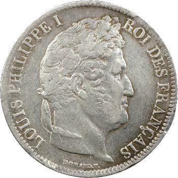Louis-Philippe Ier, 5 francs Ier type Domard, tranche en creux, 1831 Lyon
