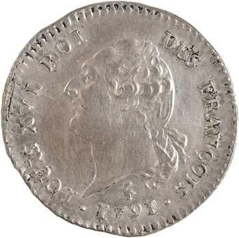 Constitution, 15 sols FRANÇOIS, An 3, 1er semestre (héron), 1791 Paris