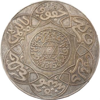 Maroc, Abdül Aziz I, 5 dirhams, frappe monnaie, AH 1315 (1897) Berlin