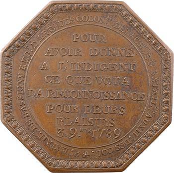 Colonies, ville de Lorient, jeton du 2e bataillon des Colonies, 1789 Paris
