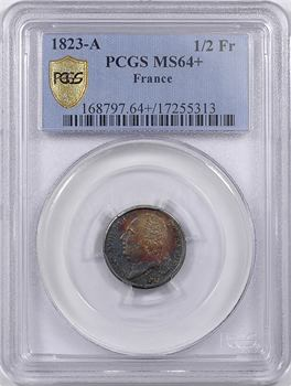 Louis XVIII, 1/2 franc, 1823 Paris, PCGS MS64+
