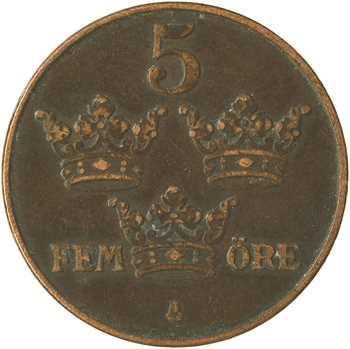 Suède (royaume de), Gustave V, 5 Öre, 1914