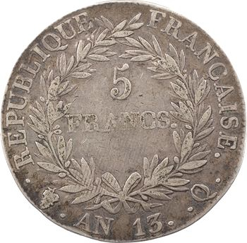 Premier Empire, 5 francs tête nue, calendrier révolutionnaire, An 13 Perpignan