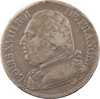 Louis XVIII, 5 francs buste habillé, 1814 Perpignan