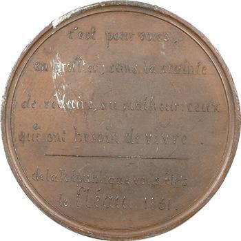 IIe République, médaille politique l'Hypocrisie et le fléau, 1851 Paris