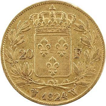 Louis XVIII, 20 francs buste nu, 1824 Lille