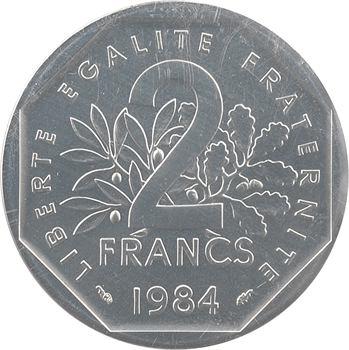 Ve République, piéfort de 2 francs Semeuse en argent, 1984 Pessac