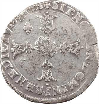 Henri IV, quart d'écu, écu de face, 4e type, 1603 Villeneuve-lès-Avignon