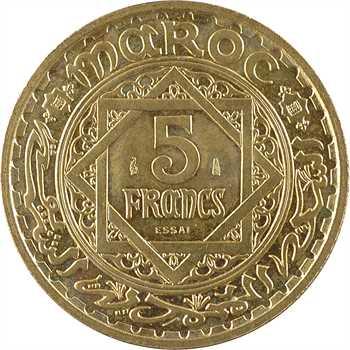 Maroc, Mohammed V, essai de 5 francs, AH 1365 (1946) Paris