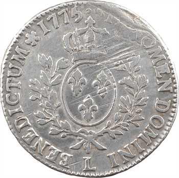 Louis XVI, écu aux branches d'olivier, 1775 Bayonne