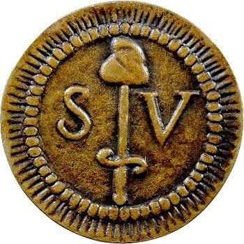 Constitution, essai de 5 sols à l'épée en métal de cloche, c.1791