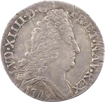 Louis XIV, pièce de dix sols aux insignes, 1705 Rennes
