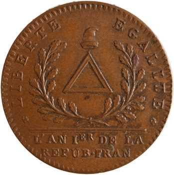 Convention, essai au triangle par Brézin, 1792 Paris variété frappe monnaie
