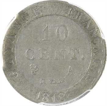 Guyane, Louis XVIII, piéfort de 10 centimes en étain, 1818 Paris, PCGS SP55