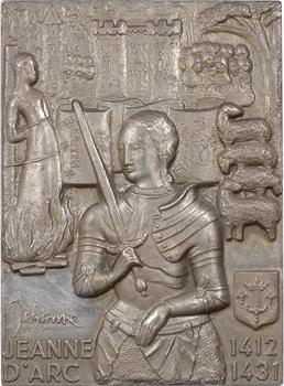 Ve République, Jeanne d'Arc, plaque en argent par Yvette de la Frémondière, N° XXI, 1973 Paris