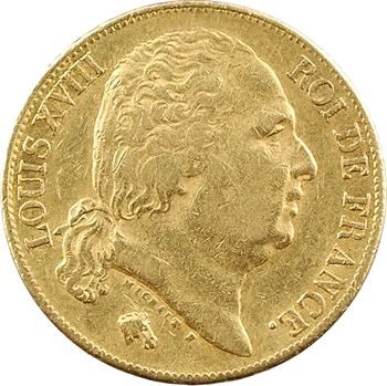 Louis XVIII, 20 francs buste nu, 1818 Bayonne