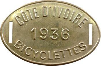 Côte d'Ivoire, plaque de taxe de bicyclettes, 1936