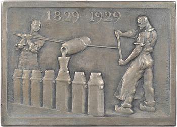 Nocq (H.) : centenaire des fonderies et usines Jacob Holtzer, plaque en argent, 1929 Paris, au Prince Poniatowski
