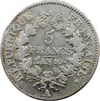 Consulat, 5 francs Union et Force, An 10 Paris