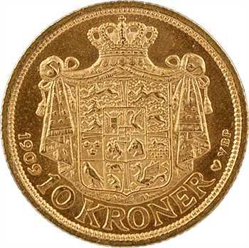 Danemark, Frédéric VIII, 10 kroner ou couronnes, 1909 Copenhague
