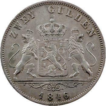 Allemagne, Nassau (duché de), Adolphe, 2 florins, 1846 Wiesbaden