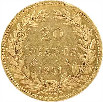 Louis-Philippe Ier, 20 francs Tiolier, tranche en creux, 1831 Paris
