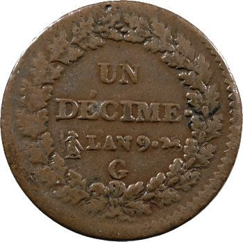 Consulat, un décime Dupré, An 9 Genève