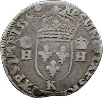 François II, teston au nom d'Henri II, à la tête nue 1er type, 1559 Bordeaux