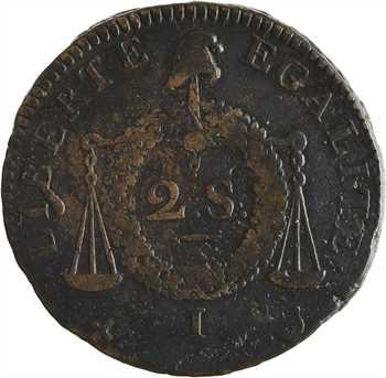 Convention, deux sols aux balances sans date, An II Limoges
