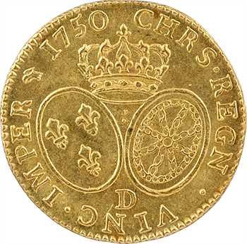 Louis XV, louis d'or au bandeau, 1750 Lyon