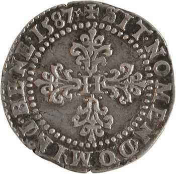 Henri III, demi-franc au col plat, 1587 Poitiers