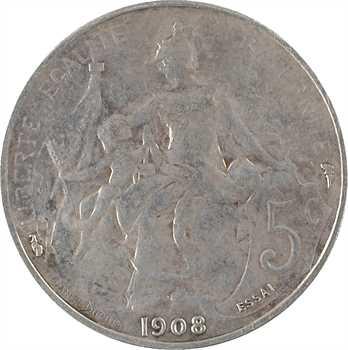 IIIe République, essai de 5 centimes Daniel-Dupuis, argent, 1908 Paris