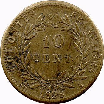Charles X, 10 centimes pour les colonies, 1828 Paris
