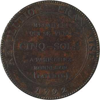 Constitution, cinq sols de Monneron à l'Hercule, frappe médaille, An IV, 1792 Birmingham