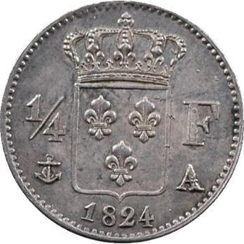 Louis XVIII, 1/4 de franc, 1824 Paris