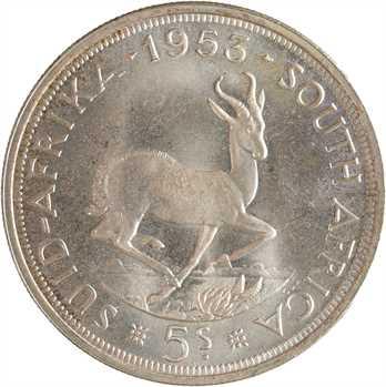 Afrique du Sud, Élisabeth II, 5 shillings, 1953