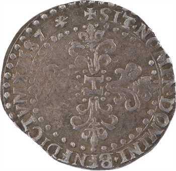 Henri III, quart de franc au col plat, 1587 La Rochelle