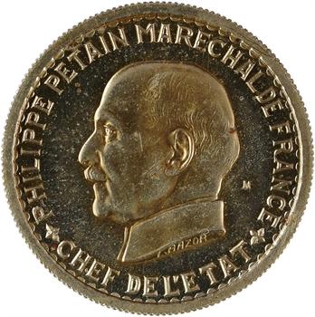 État français, essai de 5 francs Pétain type II en maillechort, 1941 Paris