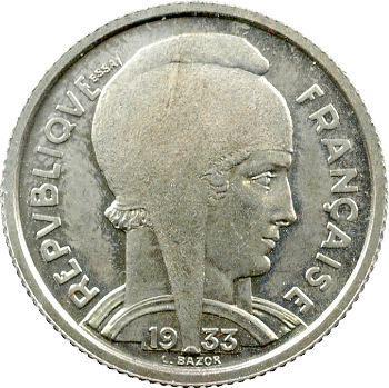 IIIe République, essai de 5 francs Bazor en maillechort, 1933 Paris