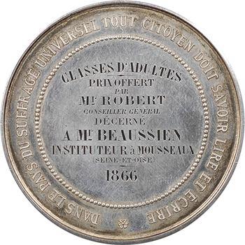 Second Empire, prix du Conseil Général à Mousseaux (Seine et Marne), classes d'adultes, 1866 Paris