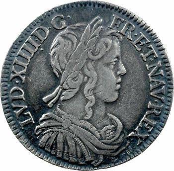 Louis XIV, demi-écu à la mèche longue, 1654 Paris