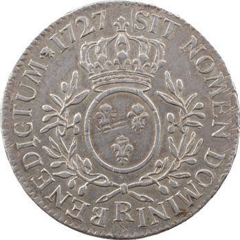 Louis XV, écu aux rameaux d'olivier, 1727 Orléans