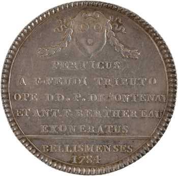 Louis XV, Bellême, Pierre de Fontenay et Antoine-François Berthereau, exemption du droit de franc-fief pour le Perche, 1784 Paris