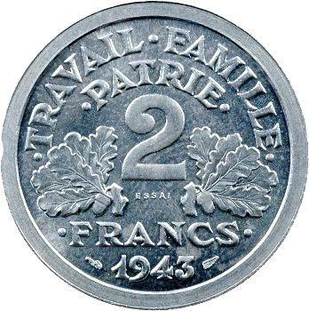 État Français, essai de 2 francs francisque, 1943 Paris