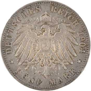 Allemagne, Prusse (royaume de), Guillaume II, 5 mark, 1904 Berlin