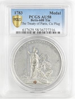 États-Unis (indépendance des), le Traité de Paris, médaille LIBERTAS AMERICANA, par Johann Leonhard Oexlein, 1783 Nuremberg ? PCGS AU58
