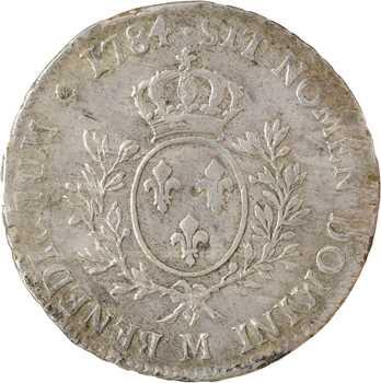Louis XVI, écu aux rameaux d'olivier, 1784 Toulouse