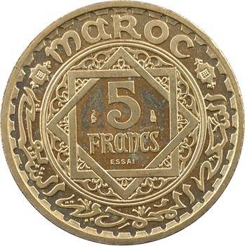 Maroc, Mohammed V, essai-piéfort de 5 francs, AH 1365 (1946) Paris