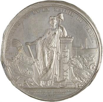 Constitution, élection de Bailly comme maire de Paris, cliché uniface, 1789 Paris